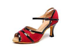 Minitoo QJ6226 Womens Color Block Red Satin Latin Salsa Dance Shoes 7 M US  >>