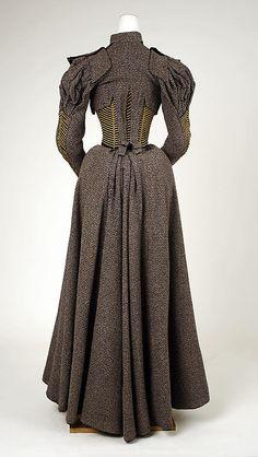 """Dress, Walking Date: ca. 1893 Culture: American Medium: wool, silk"" BACK VIEW"