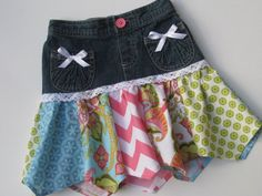 Little Girl's Up Cycled Skirt Size 4 with Colorful Panels and White Crocheted  Lace