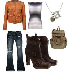 Like the orange jacket w/blue white striped blouse