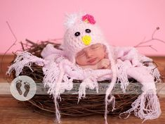 READY Baby Girl Hat   Baby Bird Hat Earflaps & Ties Soooo by PamKR