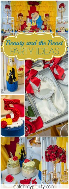 What an incredible Beauty and the Beast girl birthday party! See more party ideas at http://Catchmyparty.com!