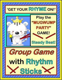 """Mugwump Party"" Group Game - Big Fun with Rhythm Sticks Preschool Music, Music Activities, Teaching Music, Preschool Learning, Teaching Resources, Teaching Ideas, Activities For Kids, Rhyming Games, Rhyming Words"