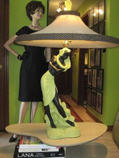 Awesome 1950's Reglor of California chalkware hula girl lamp with coolie lamp shade.