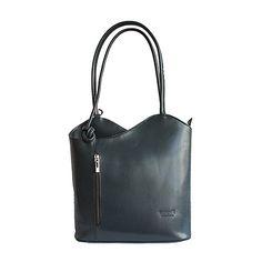 Multi-Way Dark Grey Leather Shoulder Bag/Backpack - Italian Women, Leather Shoulder Bag, Shoulder Bags, Grey Leather, Italian Leather, Backpack Bags, Dark Grey, Backpacks, Lady