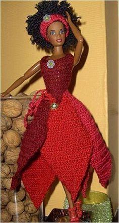 Le défilé des créations -stylistes : Barbie-fleur - Christine Crochet Barbie Clothes, Doll Clothes, Barbie Patterns, Barbie Dress, Indian Designer Wear, Free Crochet, Crochet Patterns, Creations, Gowns