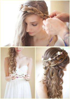 Pretty prom hair half up half down braids curls Plaits Hairstyles, Formal Hairstyles, Pretty Hairstyles, Wedding Hairstyles, Updos, Hair Plaits, Dance Hairstyles, Easy Hairstyle, Summer Hairstyles