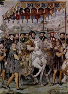 Solemn Entrance of Emperor Charles V,Francis I of France,and of Alessandro Cardinal Farnese into Paris in Palazzo Farnese (Caprarola)Taddeo Zuccari Charles V,Holy Roman Emperor. Italian Renaissance Art, High Renaissance, Renaissance Paintings, Renaissance Fashion, French History, European History, Ancient History, Tarot, Mens Garb