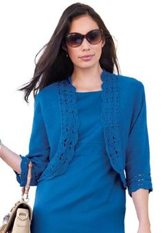 """Our plus size shrug with sweet scalloped crochet at the hem and cuffs is just the thing for cool spring evenings. Ramie/cotton. Machine wash. Imported. Open front; scooped back. Three-quarter dolman sleeves. 18"""" long."""