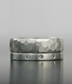 modern diamond engagement ring  wedding band set  by lolide