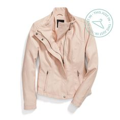Don't need another leather jacket but like the color and structure. Blush bombshell. Spring's newest neutral adds a feminine twist to an edgy staple. #trendalert
