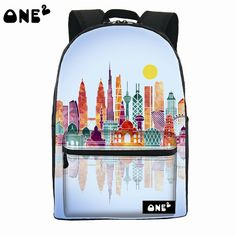 ONE2 Architectural pattern high school backpack lovely canvas backpack school backpack for girl  teenage creative backpack
