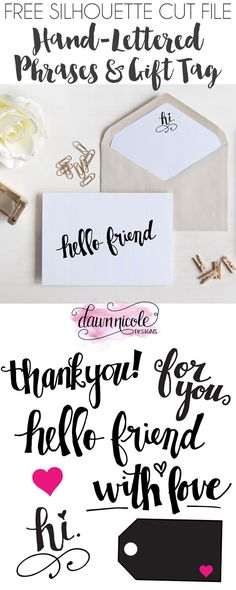 Hand-Lettered Phrases and Gift Tag FREE Cut File… Silhouette Fonts, Silhouette Cutter, Silhouette Portrait, Silhouette Machine, Silhouette Cameo Projects, Silhouette Design, Free Silhouette Files, Silhouette School, 3d Templates