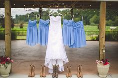 Wedding Dress, Cornflower Blue Bridesmaid Dresses