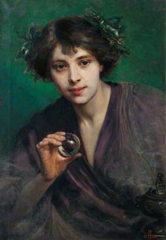 The Crystal Gazer   by Beatrice Offor Date painted: c.1900–1920 ~ notice the incense smoke around the lower part of the painting