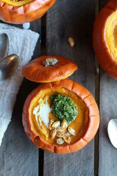 Roasted Garlic Sage Pesto Pumpkin Soup with Spicy Fried Pumpkin Seeds ...
