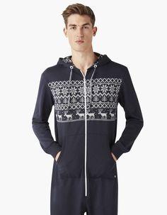 Combinaison-pyjama jersey Noël 100% coton - CICOMBIS_MARINE - Vue de face - Celio France