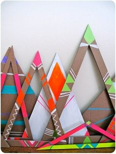 decor. colourful, cardboards, kids, tribal patterns