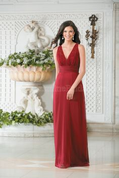 Jasmine Bridal Bridesmaid Dress Belsoie Style L174011 in Berry. This dress will give your bridesmaids an aura of sophistication. The gown is made from Tiffany chiffon featuring a halter neckline, A-line skirt, and beautiful lace detail in the bodice.