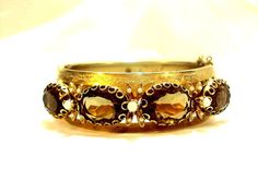 Golden Topaz Faux Pearl Wide Vintage Wide by bitzofglitz4u on Etsy, $65.00