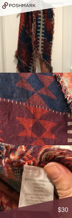 Anthropologie~ Aztec Print Scarf Looove this beautiful jewel-toned, aztec patterned scarf! It is so cozy soft!!  > Frayed edges > Long rectangle shape with pointed ends > Never Worn! Anthropologie Accessories Scarves & Wraps