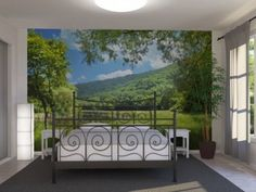 Bedroom Design with Green Forest Wall Mural