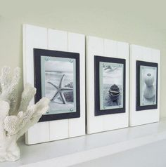 Set of 3 5X7 Plank Frames in White Seafoam and by ProjectCottage, $135.00