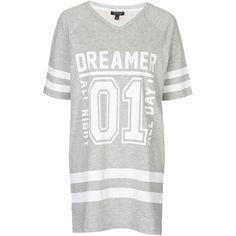 TopShop Varsity Dreamer Tee (28 AUD) ❤ liked on Polyvore featuring intimates, sleepwear, pajamas, dresses, tops, grey marl and topshop