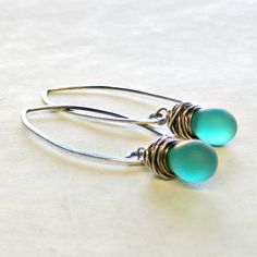 Drop+Earrings+Teal+Blue+Sterling+Silver+by+adorned7+on+Etsy,+$18.00