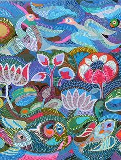 "Buy Jyoti Bhatt's ""Jal-Thal-Nabh"" Serigraph on Paper (40in x 50in) Online at Jaypore.com Folk Art Flowers, Flower Art, Dot Art Painting, Painting Tips, Fabric Painting, Watercolor Painting, Indian Art Paintings, Canvas Paintings, Abstract Paintings"