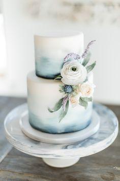 Beach wedding cake with beautiful sugar flowers. Elegant Wedding Cakes, Beautiful Wedding Cakes, Wedding Cake Designs, Beautiful Cakes, Colourful Wedding Cake, Watercolor Wedding Cake, Wedding Cake Inspiration, Pretty Cakes, Eat Cake