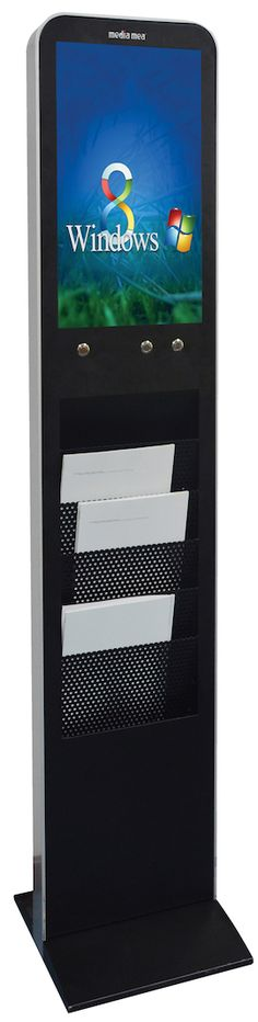 The MES -B Floor-Standing Totem with brochures holder is a standalone digital signage player with compact design and ESS solutions. It features also a sleek design, solid construction and a content scheduler. The application caters to such markets as supermarkets, metro stations, banks, hotels, and so on.