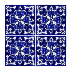 Mediterranean x Ceramic Azur Decorative Tile in Blue/White Casablanca Market White Bathroom Tiles, Bathroom Tile Designs, Moroccan Bathroom, Moroccan Room, Blue Tiles, White Tiles, Tile Art, Mosaic Tiles, Pool Tiles