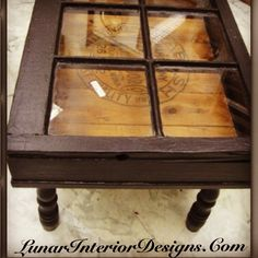 Old Barn Windows? I made this coffee table out of old barn window, added legs from an old broken table.  LauraDesignsShop@Etsy LunarInteriorDesigns.Com