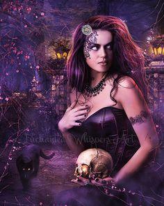 Beautiful Witch artworkWitch printFantasy by EnchantedWhispersArt