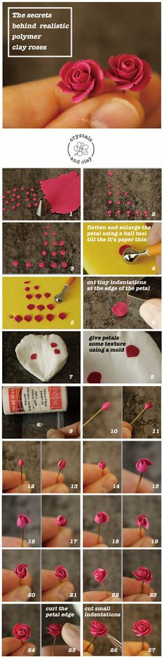 This stepbystep tutorial shows you how to make a realistic polymer clay rose polymer clay tutorial polymer clay rose DIY polymer clay crafts Polymer Clay Flowers, Fimo Clay, Polymer Clay Charms, Polymer Clay Projects, Polymer Clay Creations, Clay Crafts, Polymer Clay Jewelry, Polymer Clay Art, Clay Earrings