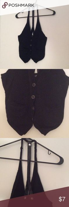 Vest with faux leather straps Gently used vest with faux leather straps Forever 21 Sweaters Cardigans