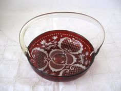 Antique Bohemian Ruby Etched Basket with Clear Glass Applied Handle by Picabosplace on Etsy