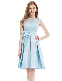 Ever Pretty Womens Round Neckline Bowtie Satin Tail Party Dress 4 Us Baby Blue