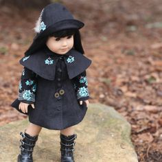 Black Coat Dress with Detachable Cape and Cloche by foxandfamily