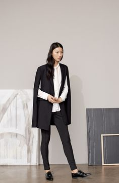 Office chic. Lusting after this Vince Camuto notch collar cape.