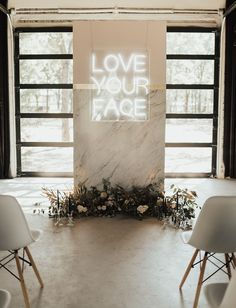 A Minimalist Wedding Ceremony Space Done With A Marble Altar Decorated With Dried Leaves Blooms And A Neon Sign Ceremony Backdrop, Ceremony Decorations, Wedding Centerpieces, Wedding Backdrops, Backdrop Ideas, Photo Backdrops, Wedding Altars, Wedding Ceremony, Wedding Venues