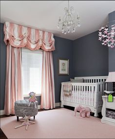 13 Snazzy Baby Girl Room Ideas that Grow with your Little Kid. baby girl room ideas pink grey chandeliers Baby Girl Room Ideas - Reorganizing a bedroom into a girl nursery needs more efforts. Parents should decide the best baby girl room ideas. Those deal Baby Bedroom, Nursery Room, Girls Bedroom, Nursery Decor, Baby Rooms, Nursery Fabric, White Nursery, Baby Girl Nursery Themes, White Bedroom