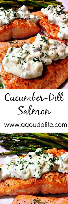 Seafood: One-Pan Cucumber Dill Salmon. You won't believe how much flavor this salmon has with so few ingredients and how quickly it goes from stove to table!