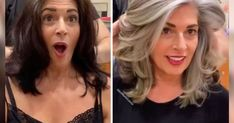 These 50 amazing gray hair makeovers will make you reconsider your position on the much-maligned color. Gray Hair Growing Out, Grow Hair, Hot Hair Styles, Curly Hair Styles, Grey Hair Transformation, Grey Hair Looks, Grey Hair Coverage, Gray Hair Highlights, Silver Hair