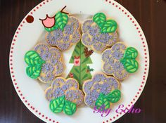 Handmade flower cookies for friends' wedding!