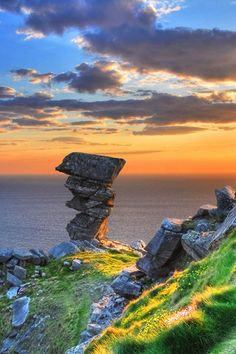 The Hags Head is the name given to the most southerly point of the Cliffs of Moher in Ireland where cliffs form an unusual rock formation that resembles a woman's head looking out to sea.