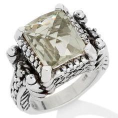 CL by Design 4.6ct Prasiolite Sterling Silver Octagonal Ring Size 7 #CLbyDesign #Solitaire
