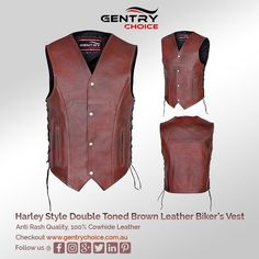 "✔️ Harley Style Rustic Brown Double Tone Leather Biker's Vest ✔️ Made of soft feel cowhide leather 🌐 Checkout @ ""Gentry Choice"" Distressed Leather, Cowhide Leather, Suede Leather, Brown Leather, Motorcycle Leather Vest, Biker Wear, Safety Clothing, Gear S, Leather Design"