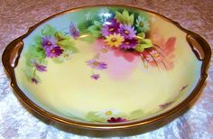 """Beautiful T & V Limoges & Pitkin & Brooks Studio 1900's Hand Painted """"Lavender, Purple, Yellow, & White Daisies"""" 10-5/8"""" Bowl by Artist, """"Joesphine Imlay"""""""